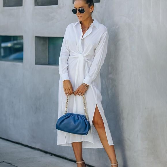 Small Sun Valley Tie Front Midi Shirt Dress.. NWT